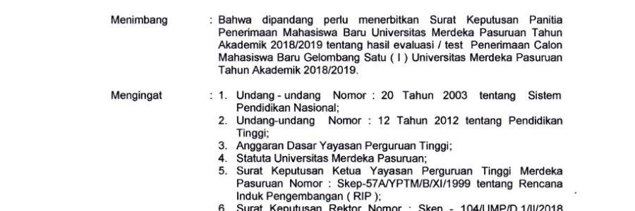 Pengumuman Hasil Penerimaan Mahasiswa Baru Gelombang I Tahun 2018/2019
